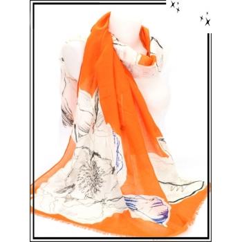 Foulard - Fleurs - Touches argentées - Bordure orange