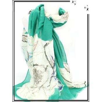 Foulard - Fleurs - Touches argentées - Bordure turquoise