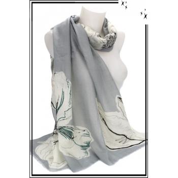 Foulard - Fleurs - Touches argentées - Bordure gris