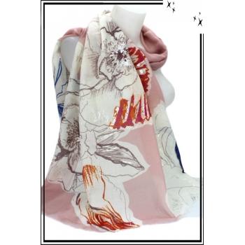 Foulard - Fleurs - Touches argentées - Bordure rose poudré