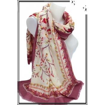 Foulard - Fleurs - Touches paillettées - Frises - Bordure prune