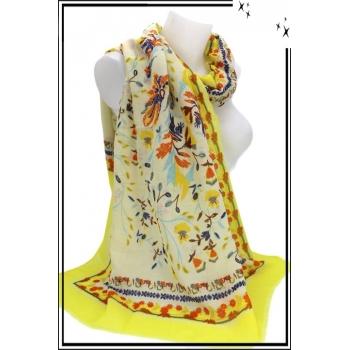 Foulard - Fleurs - Touches paillettées - Frises - Bordure jaune
