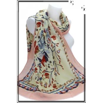 Foulard - Fleurs - Touches paillettées - Frises - Bordure rose