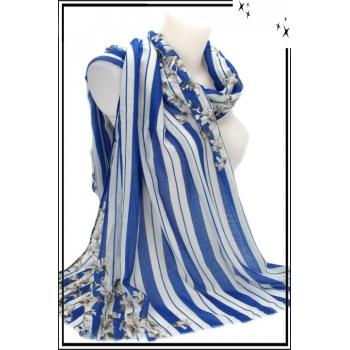 Foulard - Rayures - Fleurs - Touches argentées - Bleu roi