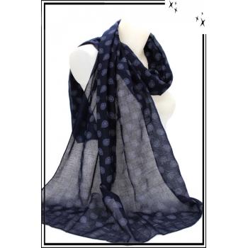 Foulard - Motifs arabesques - Marine / Bleu