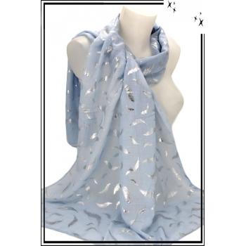 Foulard - Grandes feuilles argentées - Bleu ciel