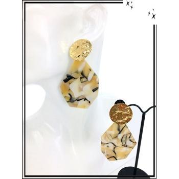 Boucles d'oreilles - Résine - Piecette dorée - Camaieu de jaune / beige