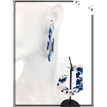 Boucles d'oreilles - Résine - Nuancé - Bleu / Blanc