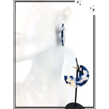 Boucles d'oreilles - Résine - 3/4 - Nuancé - Bleu / Blanc