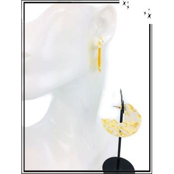 Boucles d'oreilles - Résine - 3/4 - Nuancé - Blanc / Jaune