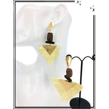 Boucles d'oreilles - Résine - Triangle doré - Beige