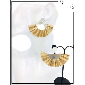 Boucles d'oreilles - Résine - Demi lune - Argent - Beige