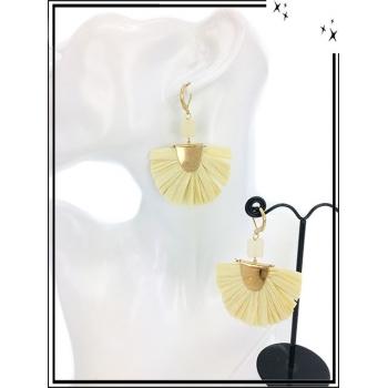 Boucles d'oreilles - Résine - Carré - Beige