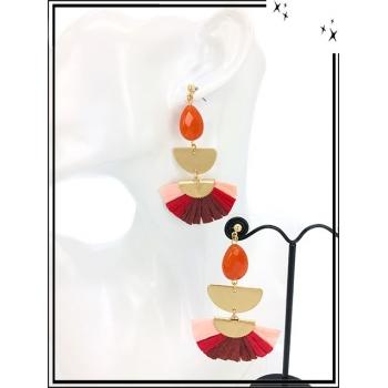Boucles d'oreilles - Résine - Perle - Demi lune dorée - Camaieu rouge / rose
