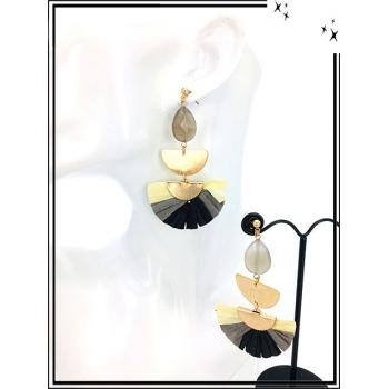 Boucles d'oreilles - Résine - Perle - Demi lune dorée - Camaieu beige / gris