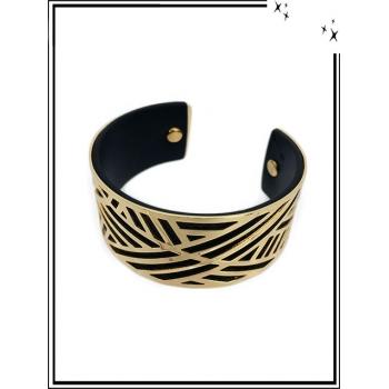 Bracelet - Grand modèle - Ajouré - Doublure - Doré / Noir