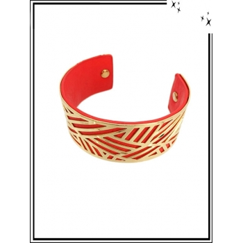 Bracelet - Grand modèle - Ajouré - Doublure - Doré / Rouge