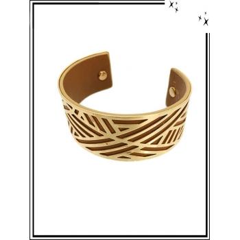 Bracelet - Grand modèle - Ajouré - Doublure - Doré / Chocolat