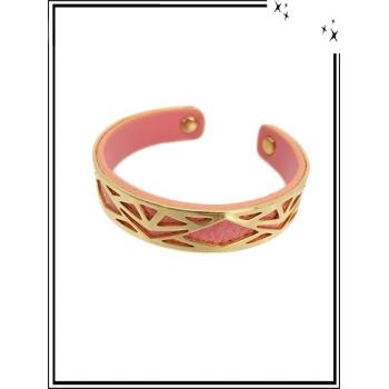 Bracelet - Petit modèle - Ajouré - Doublure - Doré / Rose