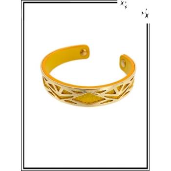 Bracelet - Petit modèle - Ajouré - Doublure - Doré / Jaune