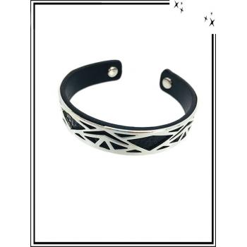 Bracelet - Petit modèle - Ajouré - Doublure - Argent / Noir