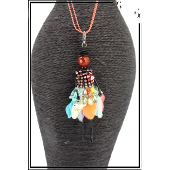Sautoir - Poupée - Jupe plumes - Multicolor