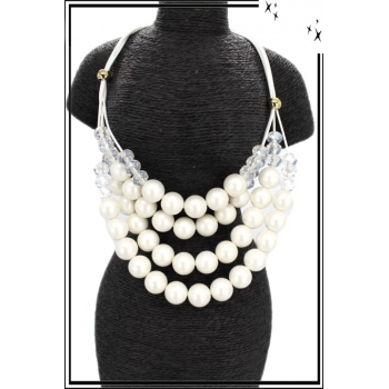 Collier - Résine - Multi-rangs - Blanc