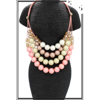 Collier - Résine - Multi-rangs - Tons rosés