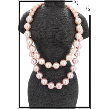 Collier - Résine - Double rangs - Rose poudré