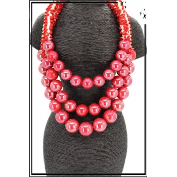 Collier - Multi-rangs - Perles nacrées - Rouge