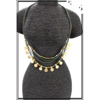 Collier - Multi-rangs - Perles - Doré / Vert