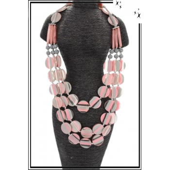 Sautoir - Résine - Perles plates - Rayures - Rose