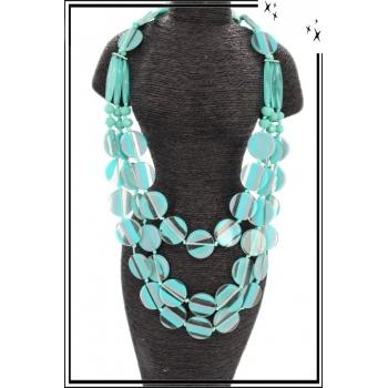 Sautoir - Résine - Perles plates - Rayures - Bleu
