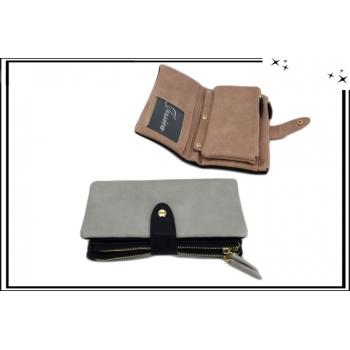 Portefeuille - Multi-compartiments - Détachable - Bi-color - Gris / Noir