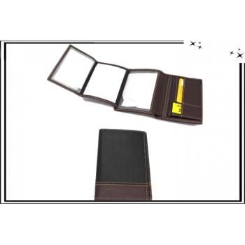 Portefeuille - Coutures apparentes - Noir / Chocolat