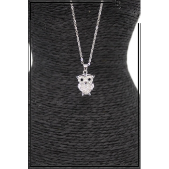 Collier - Strass - Petite chouette - Argent