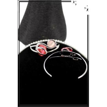 Bracelet - Jonc - Acier - Arabesques - Double pierres rose poudrée et corail