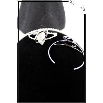 Bracelet - Jonc - Acier - Arabesques - Pierre losange blanc