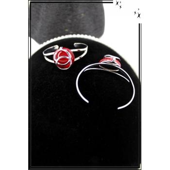 Bracelet - Jonc - Acier - Arabesques - Pierre rouge