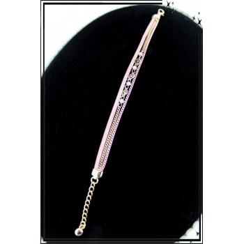 Bracelet - Triple rangs - Chaînettes - Petites perles - Rose / Doré