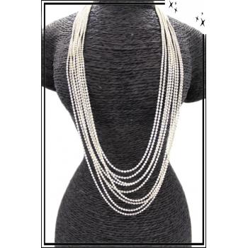 Sautoir - Multi-rangs - Petites perles - Blanc