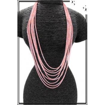 Sautoir - Multi-rangs - Petites perles - Rose