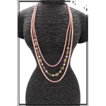 Sautoir - Triple rangs - Chaînettes - Petites perles - Rose / Doré