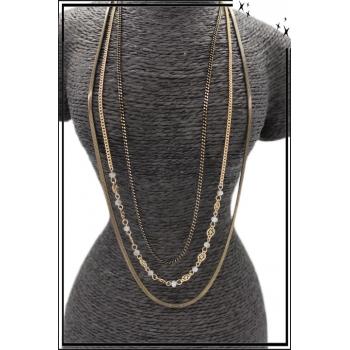 Sautoir - Triple rangs - Chaînettes - Petites perles - Noir / Doré