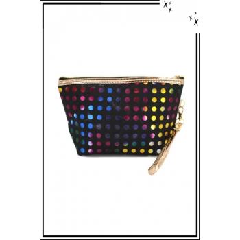 Trousse de sac à main - Pois avec reflets - Fond noir