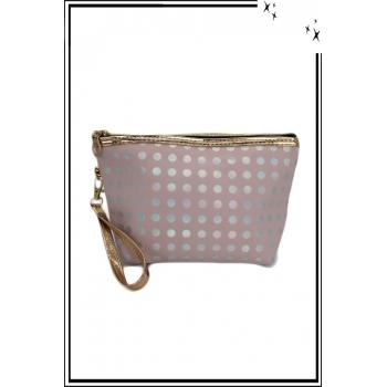Trousse de sac à main - Pois argent avec reflets - Rose poudré