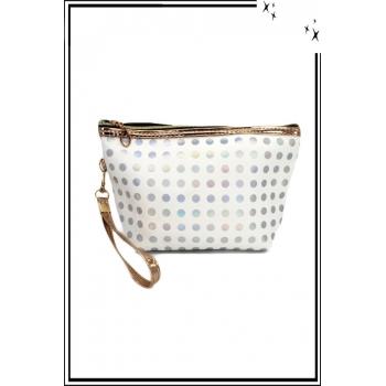 Trousse de sac à main - Pois avec reflets - Blanc