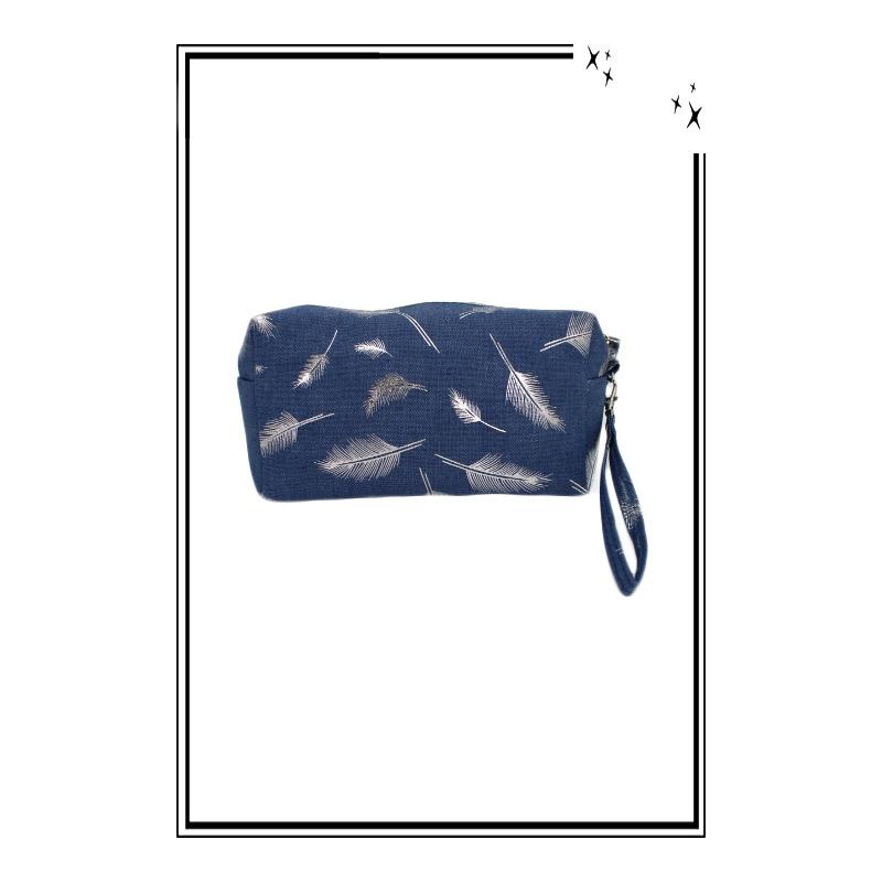 dd52d8a980 Trousse de sac à main - Jean - Plumes argent. Loading zoom