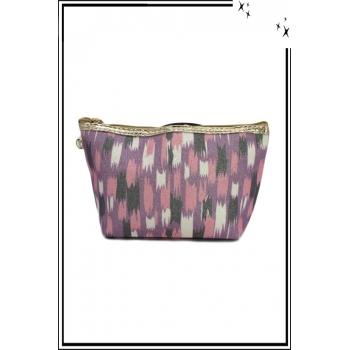 Trousse de sac à main - Paillettes - Motifs divers - Parme / Rose