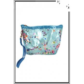 Trousse de sac à main - Perles plates - Brillant - Bleu ciel